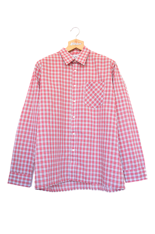 80's Western Style Checkered Pattern Point Collar Shirt XL