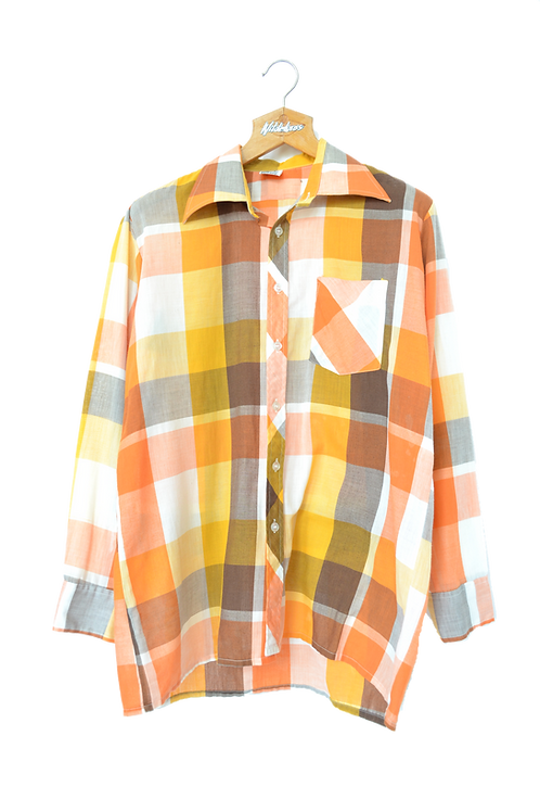80s Graphic Point Collar Shirt L