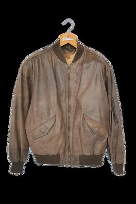 80s Natural Leather Shoulder Padded Jacket S