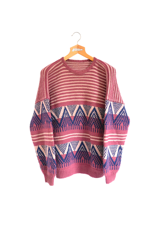 Purple Hand Knitted Jumper L