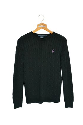 Ralph Lauren Cable Knitted Sweatshirt Black with Purple Horserider