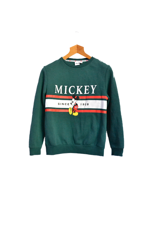 Disney Mickey Mouse Green Banner Sweatshirt XS