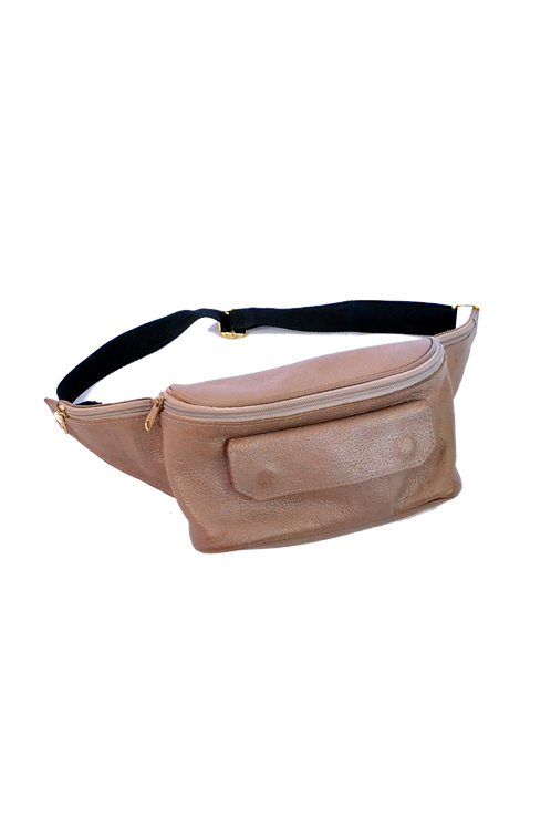 Real Leather Beige 'n Gold Waistbag