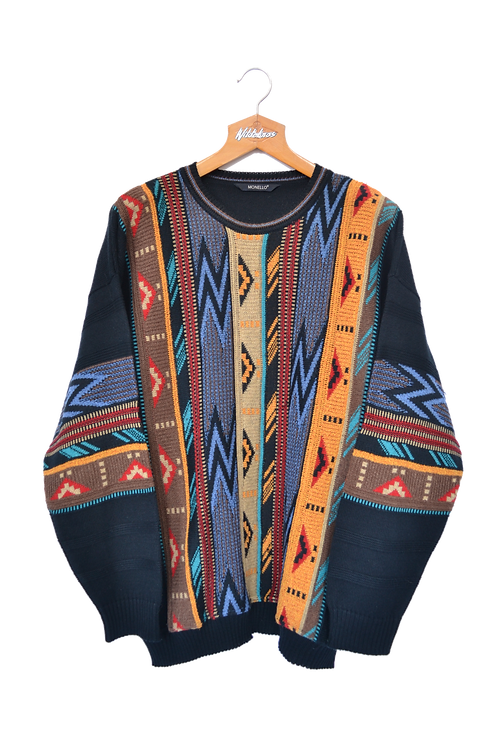 80s Multicolour knitted Jumper L