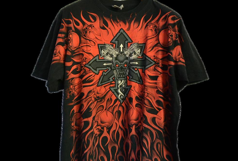 Tattoo Graphic Tee Celtic Cross and Skulls XL