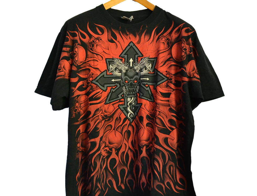 Tattoo Graphic Tee Celtic Cross and Skulls XL
