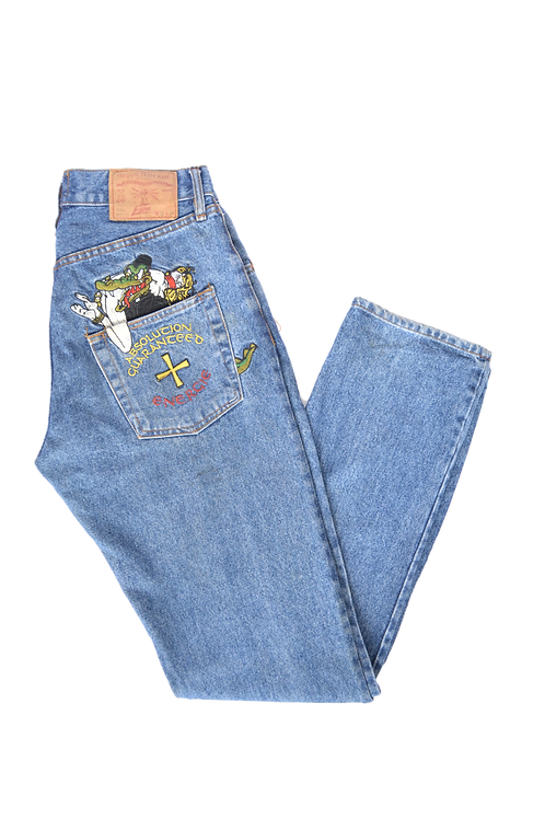 "90s ENERGIE Trademark ""Crocodile Kidnapper"" Jeans 32"