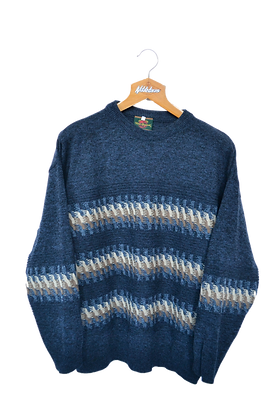 Knitted 80s Sea Themed Jumper M
