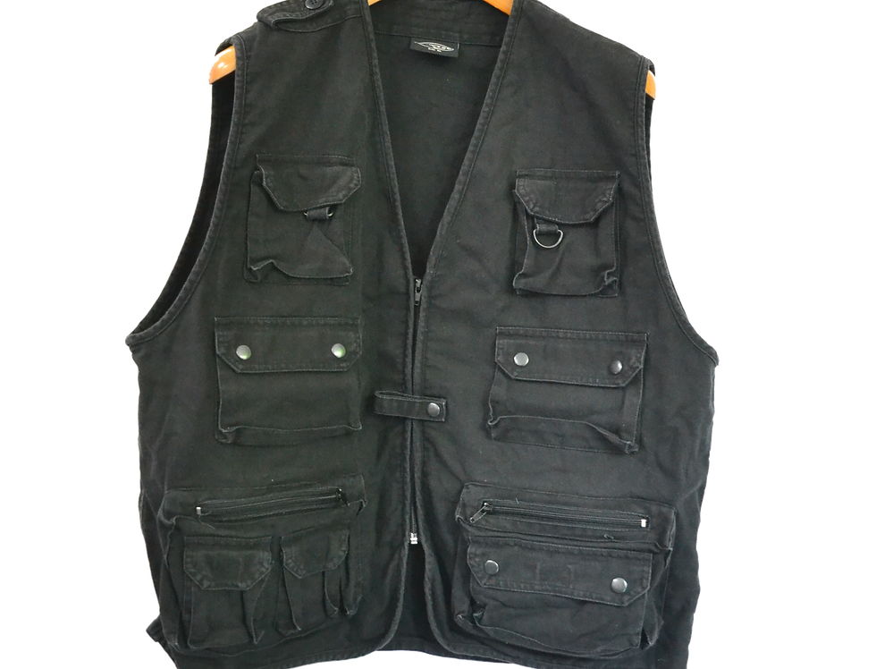 Multipocket Cargo Sleeveless Jacket black XL