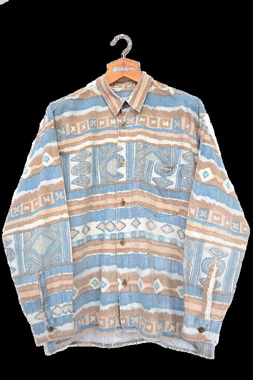 80s Corduroy Pattern Shirt XL