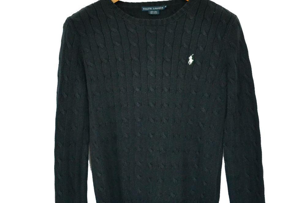 Ralph Lauren Cable Knitted Sweatshirt Black with White Horserider
