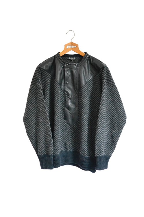 Leather Patched Knitted Sweatshirt XXL