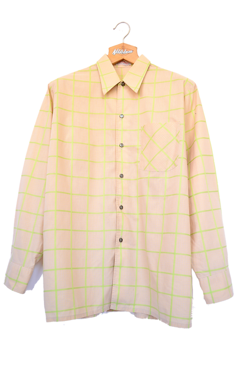 70's Beige Pattern Collar Shirt L