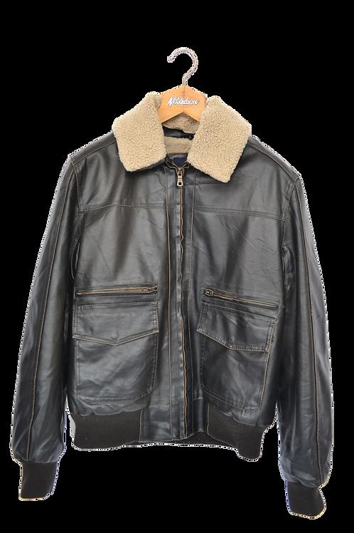 Tommy Hilfiger Faux Leather Aviator Bomber Jacket L