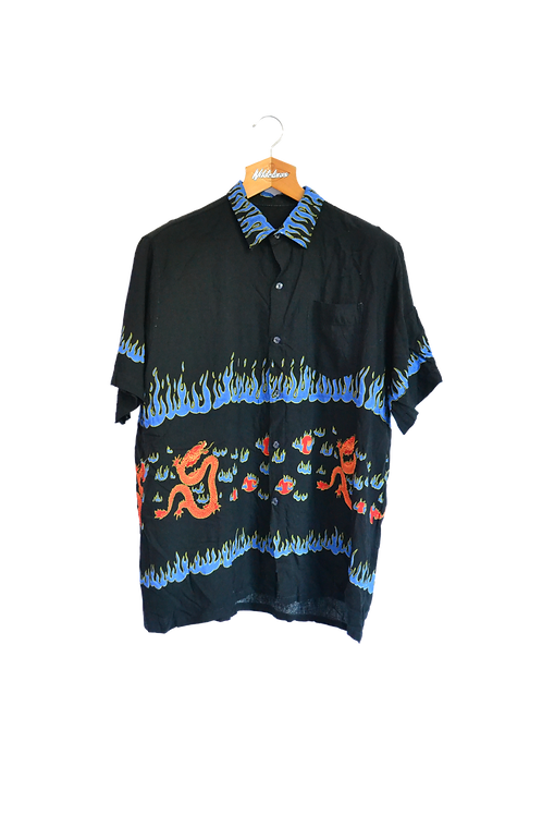 Chinese Dragons & Blue Flames Graphic Shirt M