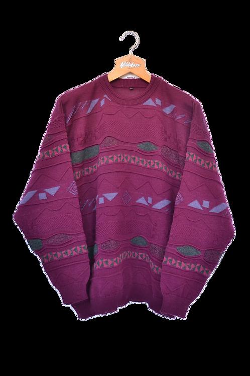Purple 80s knitted Jumper XXL