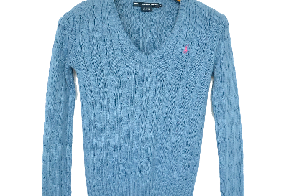 Ralph Lauren Cable Knitted Sweatshirt Blue V Neck S