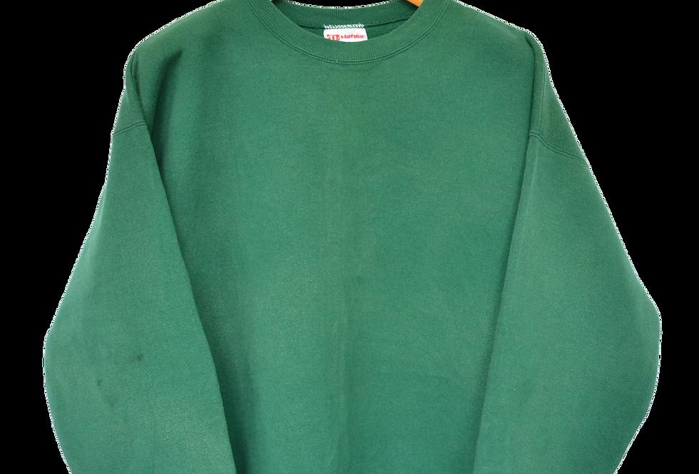 Colourblock Plain Green Sweatshirt XL