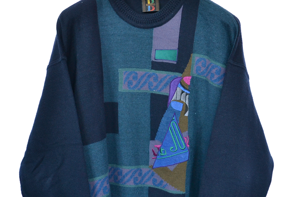Baffo Abstract 80s Wool Jumper M