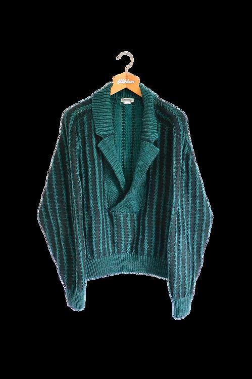 Blazer Style Knitted Jumper L