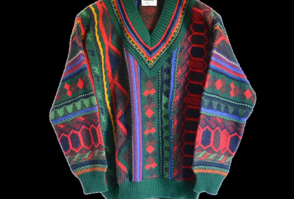 Vibrant Coloured Knitted V-Jumper S