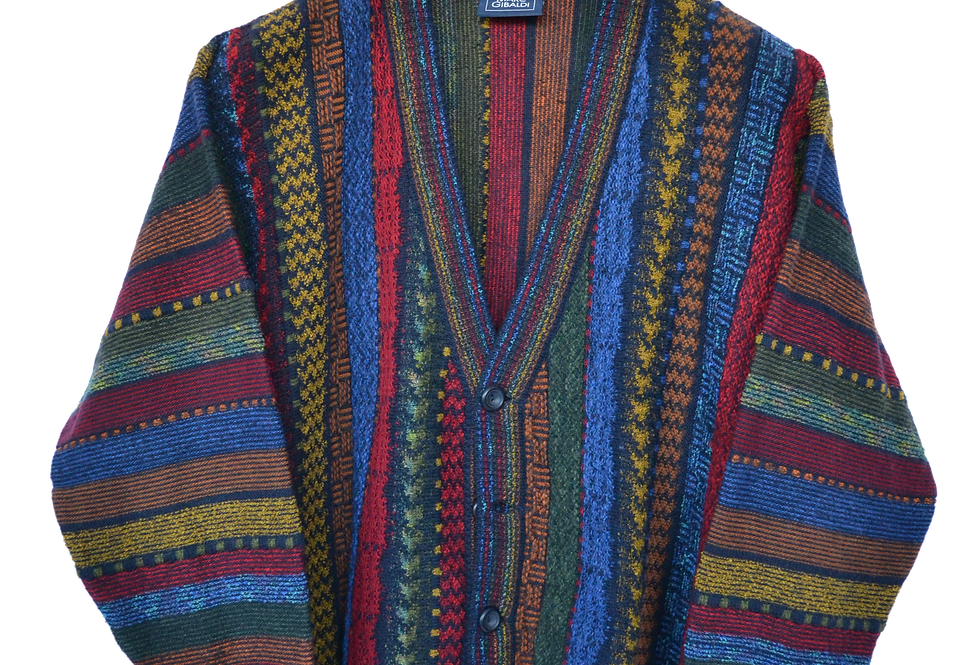 Multi Coloured Knitted Button up Jacket S