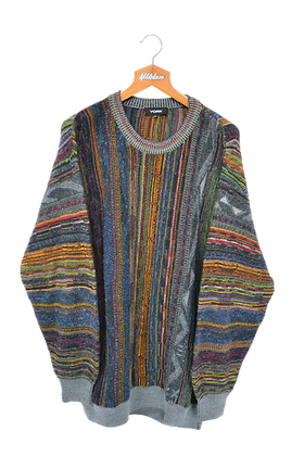 3D Knitted Multicoloured 80s Jumper XXL