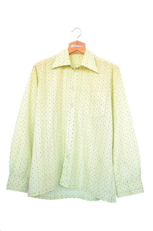 70s Lime Green Patterned Point Collar Shirt L