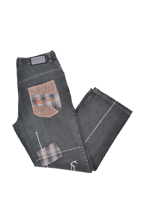 """90s Karl Kani """"The Original Brooklyn Jeansco."""" Patched Jeans 38"""