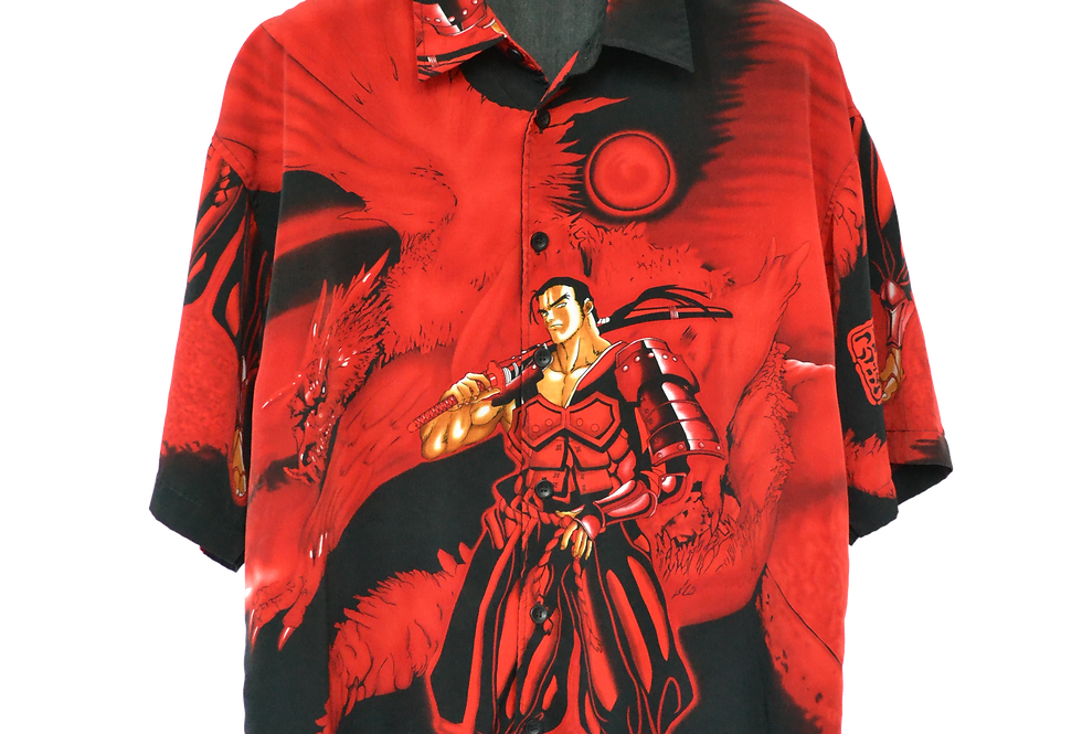 Buffed Af Samurai with Dragon Graphic Shirt L