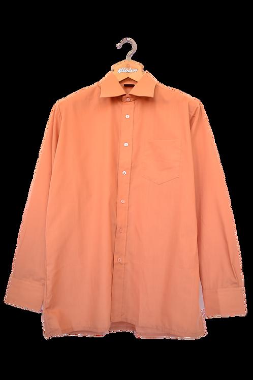 80's Light orange Collar Dress Shirt L