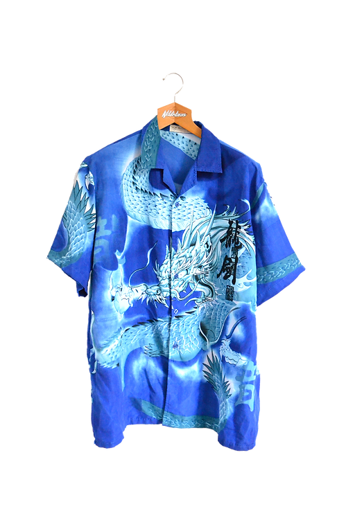 Electric Blue Thunder dragon Shirt XXL
