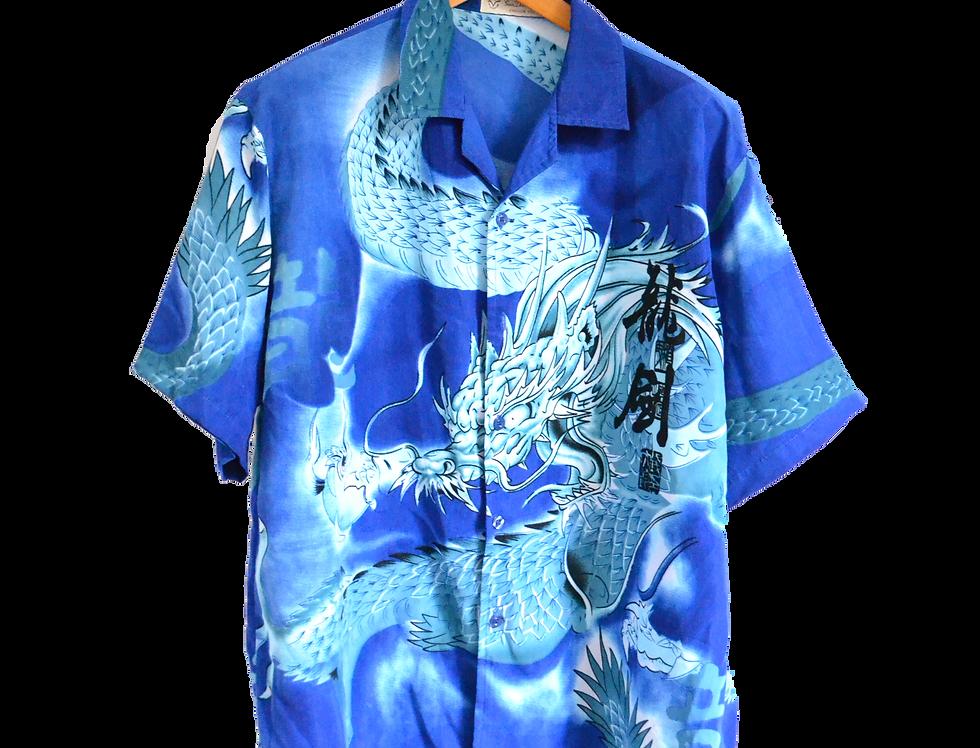 Electric Blue Thunder dragon Shirt XXL