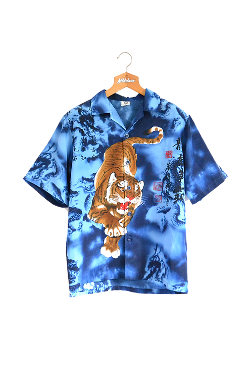 Tiger and Dragons Graphic Shirt Blue M