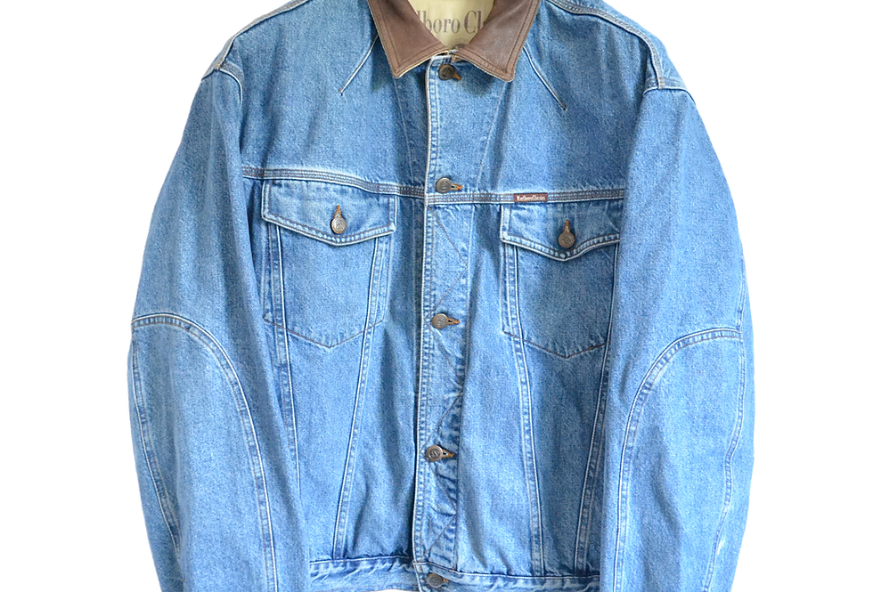 Marlboro Classics 90s Denim/Leather Collar Jacket L