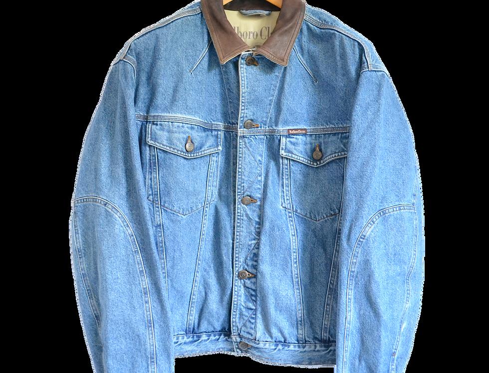 Marlboro Classics 90s Denim/Leather Collar Jacket L