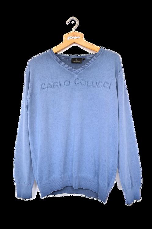 Carlo Colucci Spellout Blue Sweatshirt M