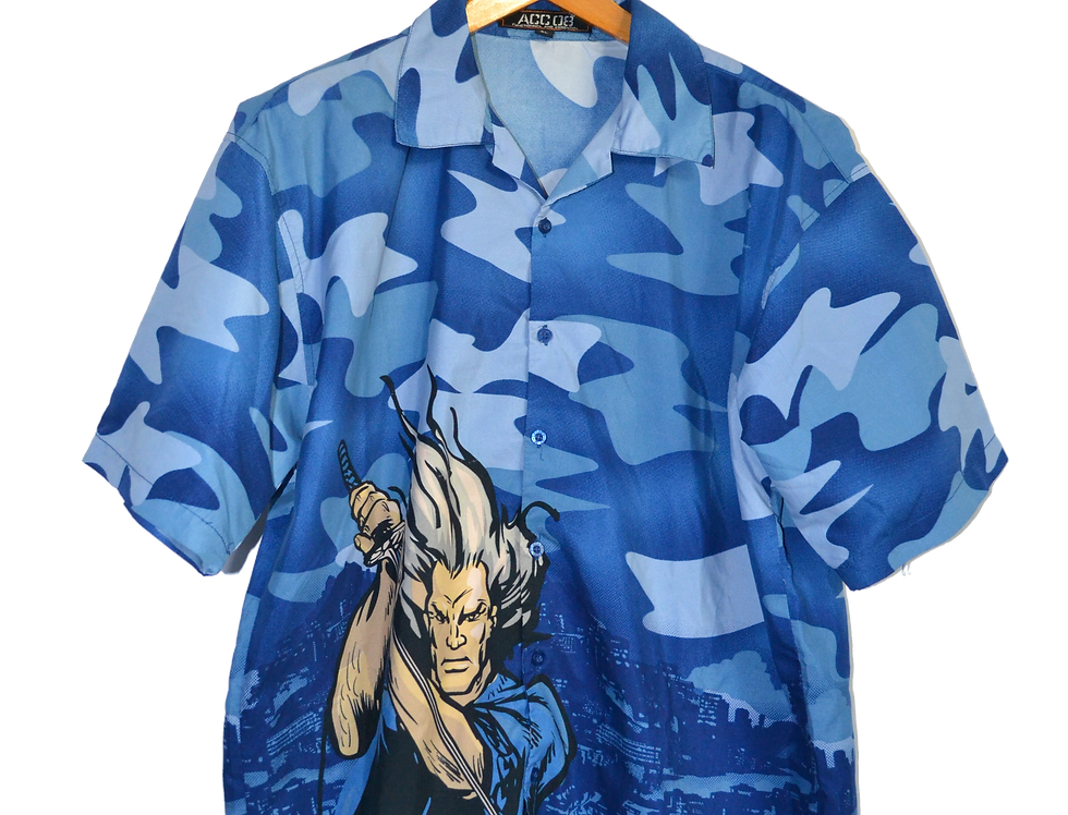 Fucked up Samurai Blue Camouflage Graphic Shirt