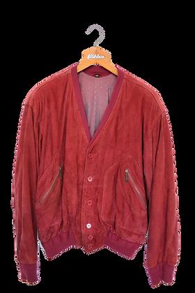 Red Suede V-Jacket L