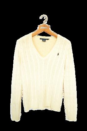 Ralph Lauren Cable Knitted Sweatshirt Cream V Neck S
