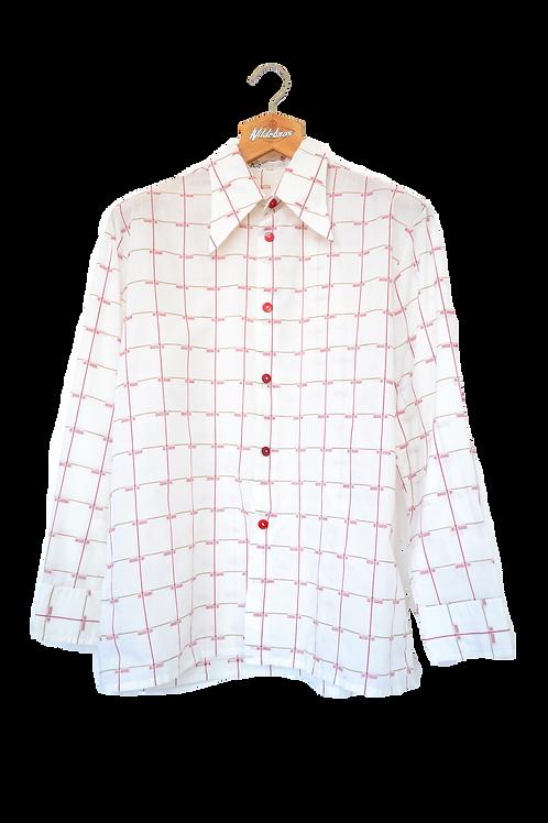 80s White Point Collar Shirt L
