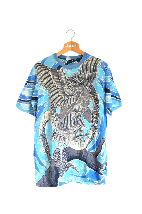 Nusantara Indäh Bird Fighting Snake Graphic Tee M