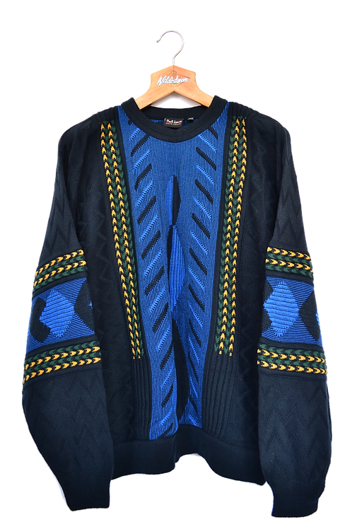 80s 3D knitted Jumper L