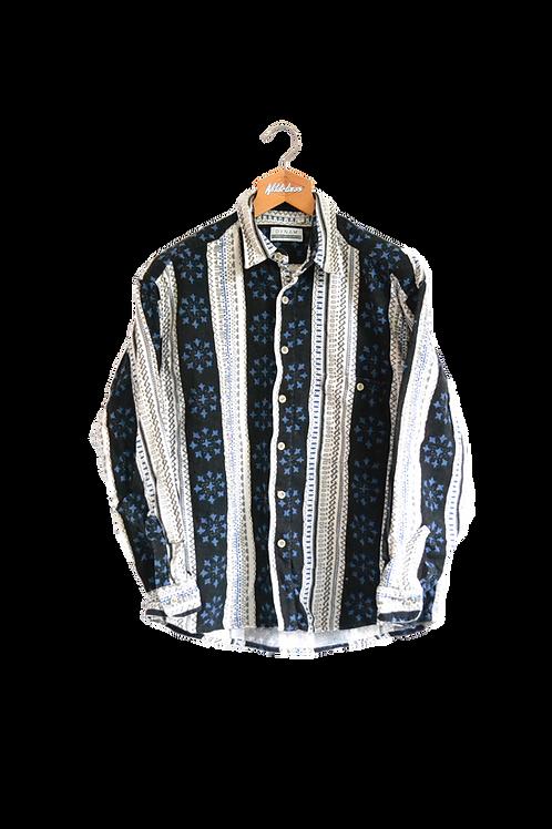 Inuit Print Striped Shirt L