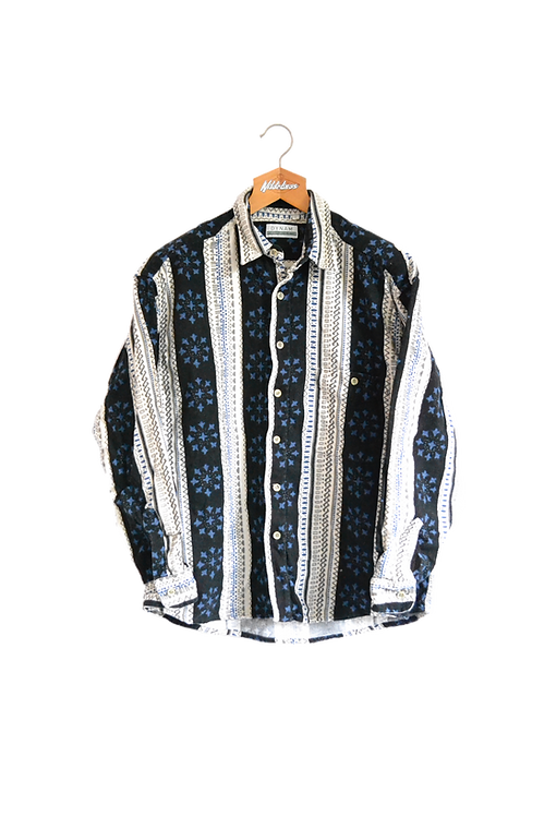Inuit Print Striped Shirt L