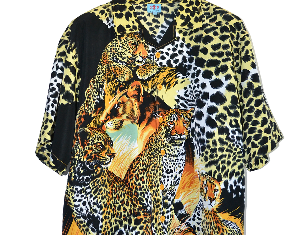 Panther Print African Wildlife Graphic Shirt XL