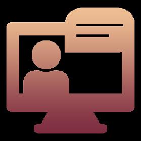 Desktop screen showing a talking head icon