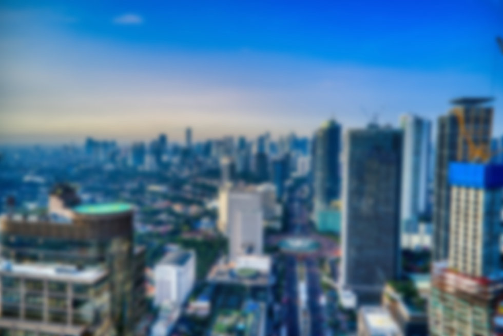blurred out city skyline with skyscrapers