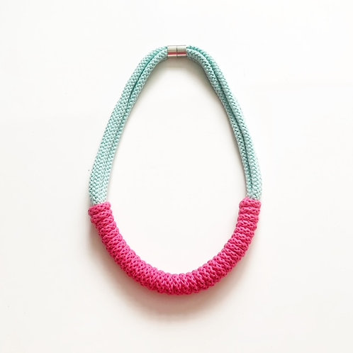 Blue And Pink Hand-Knitted Necklace