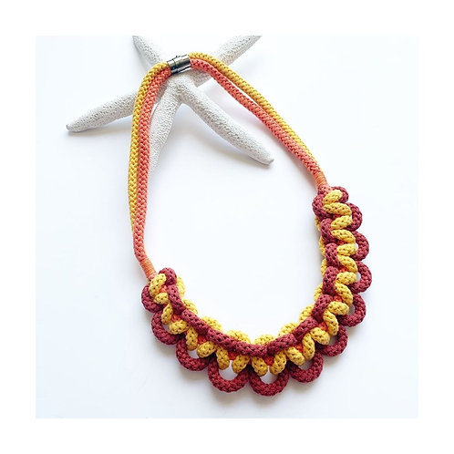 Red And Yellow Textile Necklace Made From Cotton